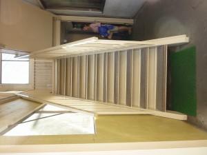 外階段塗装、ステップ取付